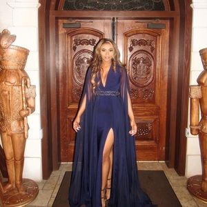 Navy Blue Chiffon gown with floor length sleeves